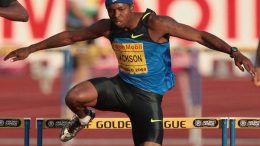 Bershawn Jackson, who always runs with a Nike headband, may be (at 5-8) the shortest world-class long hurdler.