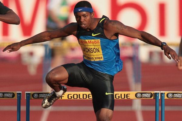Bershawn Jackson, who always runs with a Nike headband, may be (at 5-8) the shortest world-class long hurdler.