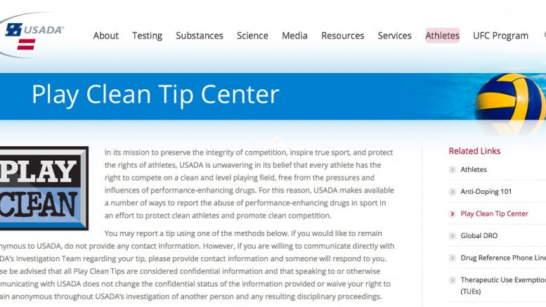 Here USADA page that invites folks to finger suspected drug cheats — even in the masters ranks.