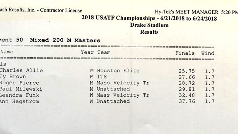 Results of Des Moines masters exhibition neglect to note a stunning M70 world record.