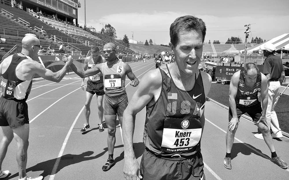 Ray Knerr of Ventura, California, savors his national title in the M55 800.