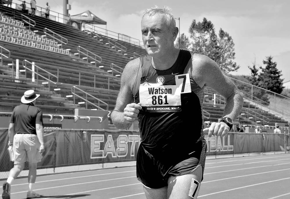 Dr. Richard Watson of Yuma guts out the 1500 – the last event of the M65 pentathlon.