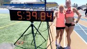 Lesley Hinz (with teammate Sue McDonald) shows off her latest mile world record.