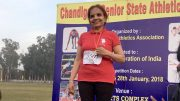 Opinder Sekhon stood on a medal podium after winning gold at the January 2018 Chandigarh Masters Association meet.
