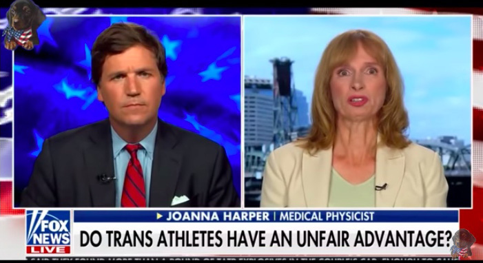 Tucker Carlson on Fox News couldn't keep up with masters runner Joanna Harper.
