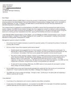 Guy Dirkin's letter to WMA President Margit Jungmann.