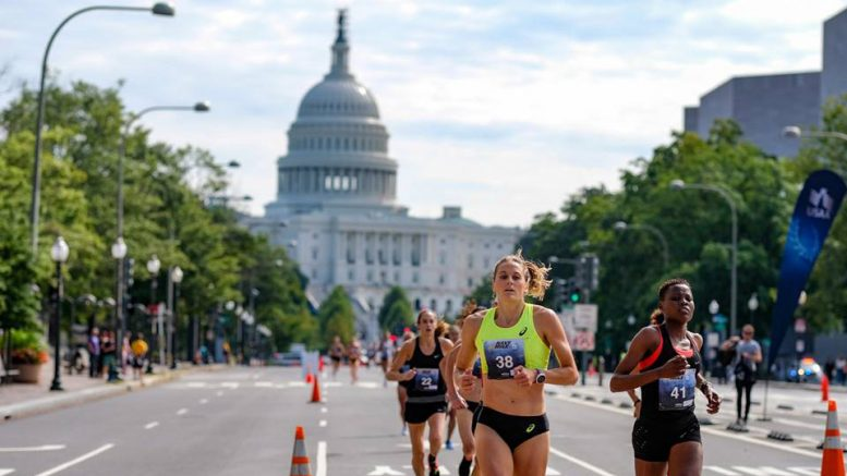 The nation's Capitol looms in background of Navy Mile, where Sonja set an age-group record.