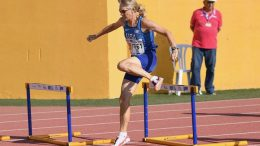 Tina Bowman (photographer not listed) took silver in the W65 long hurdles at Malaga worlds.