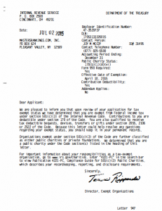 IRS letter to John Seto approving his site's nonprofit status.