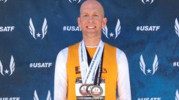 Josh Robbins showed off national meet hardware. He rook silvers in Spokane in the M40 100 and pentathlon.