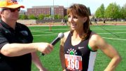 Alison Wood is interviewed at a 2015 meet, where she competes for Oregon Track Club Masters.