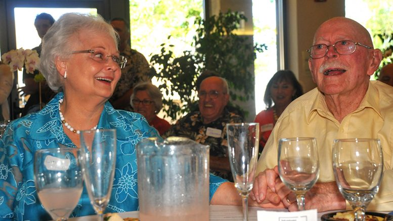 Linda and David Pain enjoyed his 90th birthday party in 2012 at the San Diego church where he'll be remembered on April 6.