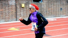 "Ida Keeling is shown at 2016 Penn Relays. This uncredited photo of ""Katelyn Turner"" could give Ida reason to sue."