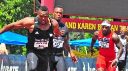 M35 Patrick Jackson hands off to twin brother and former NFL player Fred Jackson in a 4x100 relay.