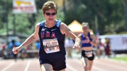 Kathy Bergen (shown at a Mt. SAC Relays) pulled a Jesse Owens act in Houston with two sprint WRs and a jump WR.