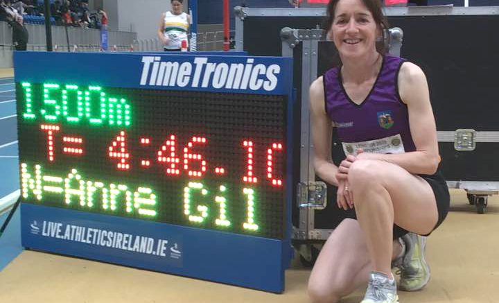 Anne smashed the listed W55 indoor WR at 1500 by 4:50.75 Clare Elm of Great Britain.