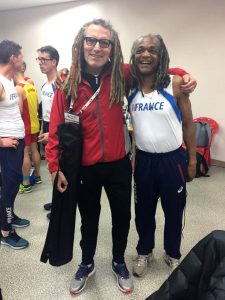 Shaggy Smith (left) compared dreadlocks with French athlete Thierry Zapha at 2017 Daegu indoor worlds.