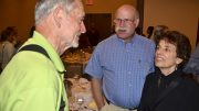 Jerry Bookin-Weiner and his wife, Hedy, chat with the late Rex Harvey at Michigan nationals banquet in 2018.