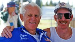 Me with Payton Jordan at 1997 San Jose nationals when he set M80 world sprint records.