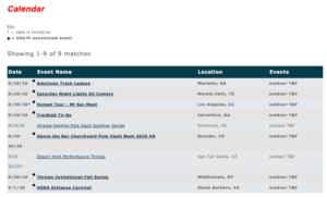 USATF calendar doesn't event list the South Carolina Trackfest.