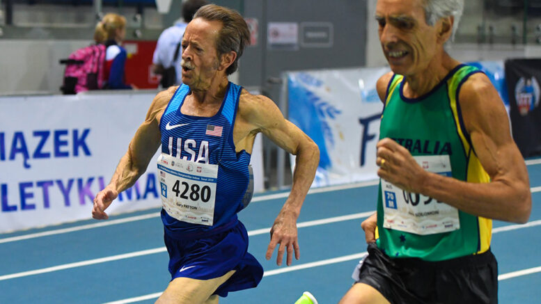 Gary Patton battled Kevin Solomon of Australia in the last few meters of the 3000 at 2019 Torun worlds, clocking 11:30.11 for M70 silver.